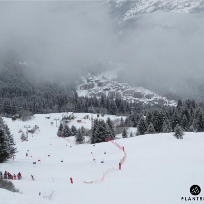 Vue sur La Tania et son stade de slalom